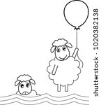 a sheep flies off with a... | Shutterstock .eps vector #1020382138