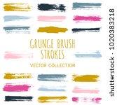 grunge paint brush stroke... | Shutterstock .eps vector #1020383218