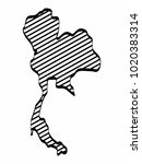 thailand map outline graphic... | Shutterstock .eps vector #1020383314