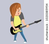 teenage boy playing guitar  ... | Shutterstock .eps vector #1020385954