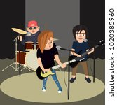 teenagers rock band performs on ... | Shutterstock .eps vector #1020385960
