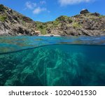 rocky coastline with a cove and ... | Shutterstock . vector #1020401530