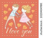 vector couple fall in love.... | Shutterstock .eps vector #1020404980
