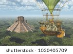 mayan pyramid and fantasy hot... | Shutterstock . vector #1020405709