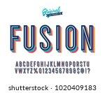 """fusion"" vintage 3d inline... | Shutterstock .eps vector #1020409183"