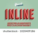 Stock vector  inline vintage d condensed alphabet old school retro typography vector illustration 1020409186