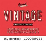 vintage stylish alphabet with... | Shutterstock .eps vector #1020409198