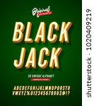 'black jack' vintage 3d sans... | Shutterstock .eps vector #1020409219