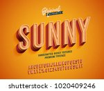 Stock vector  sunny vintage d premium rich textured alphabet super detailed retro typeace with good summner 1020409246