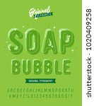 'soap bubble' funny rounded 3d... | Shutterstock .eps vector #1020409258