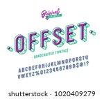 'offset' vintage slanted sans... | Shutterstock .eps vector #1020409279