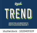 vintage 3d sans serif condensed ... | Shutterstock .eps vector #1020409339
