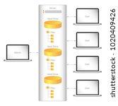 computer network data storage... | Shutterstock .eps vector #1020409426