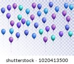 blue balloons group isolated... | Shutterstock .eps vector #1020413500