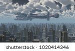 huge spaceship over a big city... | Shutterstock . vector #1020414346
