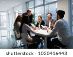 business colleagues in... | Shutterstock . vector #1020416443