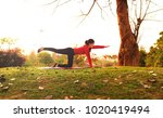 stretching muscle  young female ...   Shutterstock . vector #1020419494