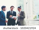 business people meeting project ... | Shutterstock . vector #1020421924