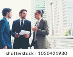 business people meeting project ... | Shutterstock . vector #1020421930