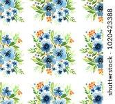 delicate blue flowers  green... | Shutterstock . vector #1020423388