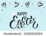 happy easter  hand drawn design ... | Shutterstock .eps vector #1020423433