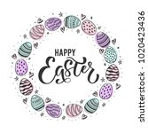 happy easter  hand drawn design ... | Shutterstock .eps vector #1020423436