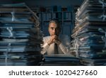 stressed exhausted business... | Shutterstock . vector #1020427660