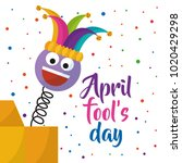 april fools day greeting card... | Shutterstock .eps vector #1020429298
