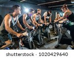 group of sporty people having... | Shutterstock . vector #1020429640
