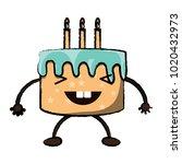 kawaii birthday cake icon | Shutterstock .eps vector #1020432973