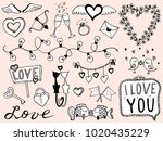 valentine's day hand drawn... | Shutterstock .eps vector #1020435229