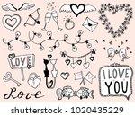 valentine's day hand drawn... | Shutterstock .eps vector #1020435229