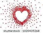 pomegranate seeds in heart... | Shutterstock . vector #1020435268