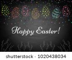 easter background with and eggs ...   Shutterstock .eps vector #1020438034
