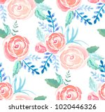watercolor roses seamless...   Shutterstock .eps vector #1020446326