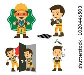 set of construction worker ... | Shutterstock .eps vector #1020446503