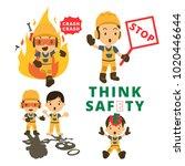 set of construction worker ... | Shutterstock .eps vector #1020446644