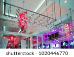 wineglasses and goblets hang... | Shutterstock . vector #1020446770