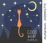 cats on the roof of the night... | Shutterstock .eps vector #1020451774