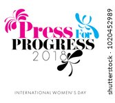 concept of press for progress... | Shutterstock . vector #1020452989