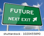 future signpost or roadsign... | Shutterstock . vector #1020455890