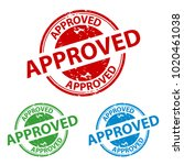rubber stamp seal   approved  ... | Shutterstock .eps vector #1020461038