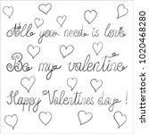 vector ink valentine day... | Shutterstock .eps vector #1020468280