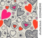 bright background with hearts...   Shutterstock .eps vector #1020468340