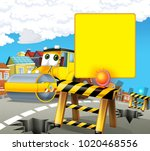 cartoon scene with road roller... | Shutterstock . vector #1020468556