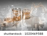 close up coins on bank account  ...   Shutterstock . vector #1020469588