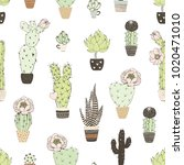 seamless pattern with doodles... | Shutterstock .eps vector #1020471010