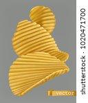 potato chips. 3d realistic... | Shutterstock .eps vector #1020471700