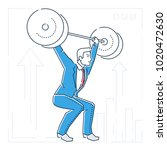 businessman lifting a heavy bar ... | Shutterstock .eps vector #1020472630