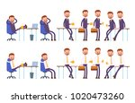 sits on the chair  arm behind... | Shutterstock .eps vector #1020473260